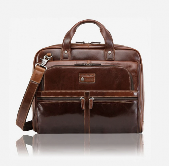 Large Multi Compartment Briefcase Tobacco